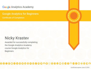 Google Analytics for Beginners Certificate