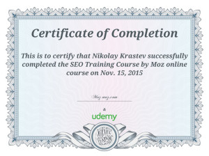 MOZ - SEO Training Certificate