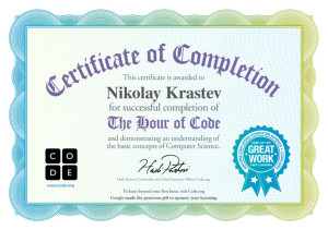 Code.org - The Hour Of Code Certificate