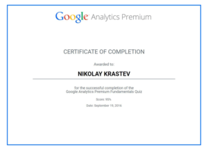 Google Analytics Premium Certificate