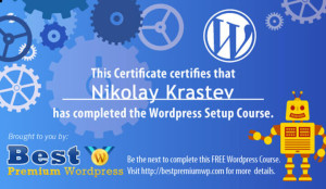 WordPress Setup Certificate