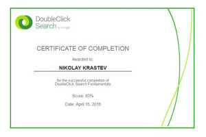 DoubleClick Search by Google Fundamentals Certificate