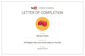 360-degree Video And Virtual Reality On YouTube Certificate