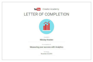 YouTube - Measuring Your Success With Analytics Certificate