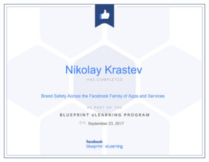 Brand Safety Across the Facebook Family of Apps and Services certificate