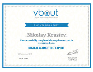 Vbout Digital Marketing Expert certificate