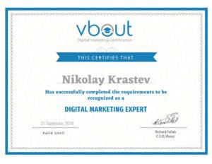 Vbout Digital Marketing Expert certificate