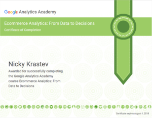 Google Ecommerce Analytics - From Data to Decisions certificate