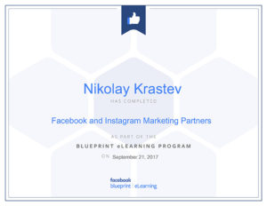 Facebook and Instagram Marketing Partners certificate