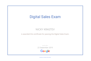 Google Digital Sales Exam certificate
