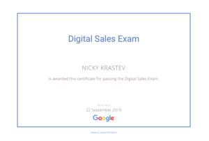 Google Digital Sales Exam certificate
