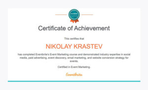 Eventbrite's Event Marketing Course Certificate