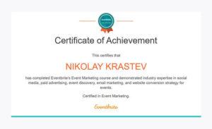 Eventbrite's Event Marketing Course Certificate