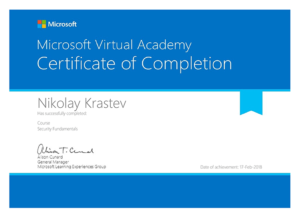 Microsoft Virtual Academy - Security Fundamentals certificate