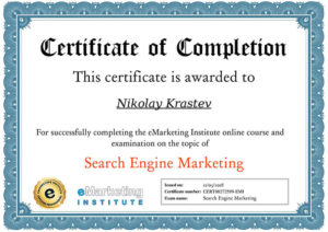 eMarketing Institute - Search Engine Marketing Certificate