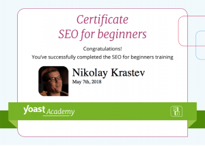 Yoast SEO for Beginners certificate