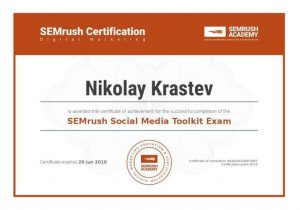 SEMrush Social Media Toolkit Certificate