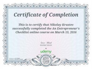 An Entrepreneurs Checklist Certificate