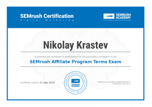 SEMrush Affiliate Program Terms Certificate