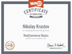 WP101 - WooCommerce Basics Certificate