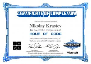 Code.org - The Hour Of Code new certificate
